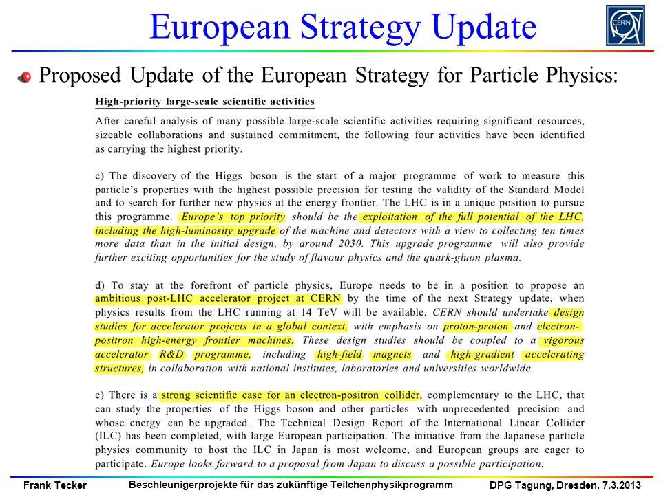 DPG Tagung, Dresden, 7.3.2013 Frank Tecker Beschleunigerprojekte für das zukünftige Teilchenphysikprogramm New proposals Proposals for CERN site LEP3, 27 km 120 GeV/beam L = 10^34TLEP, 80 km TLEP-Z, 45 GeV/beam L = 10^36 TLEP-H, 120 GeV/beam L = 5 10^34 TLEP-t, 175 GeV/beam L = 7 10^33DLEP, 50 km Proposal from Japan SuperTristan 40 km L = 10^34 60 km L = 10^34 Heard in the last decades: No other e+e- circular collider after LEP BUT … Now Constant SR Power/beam 50 MW Circular e+e- Colliders