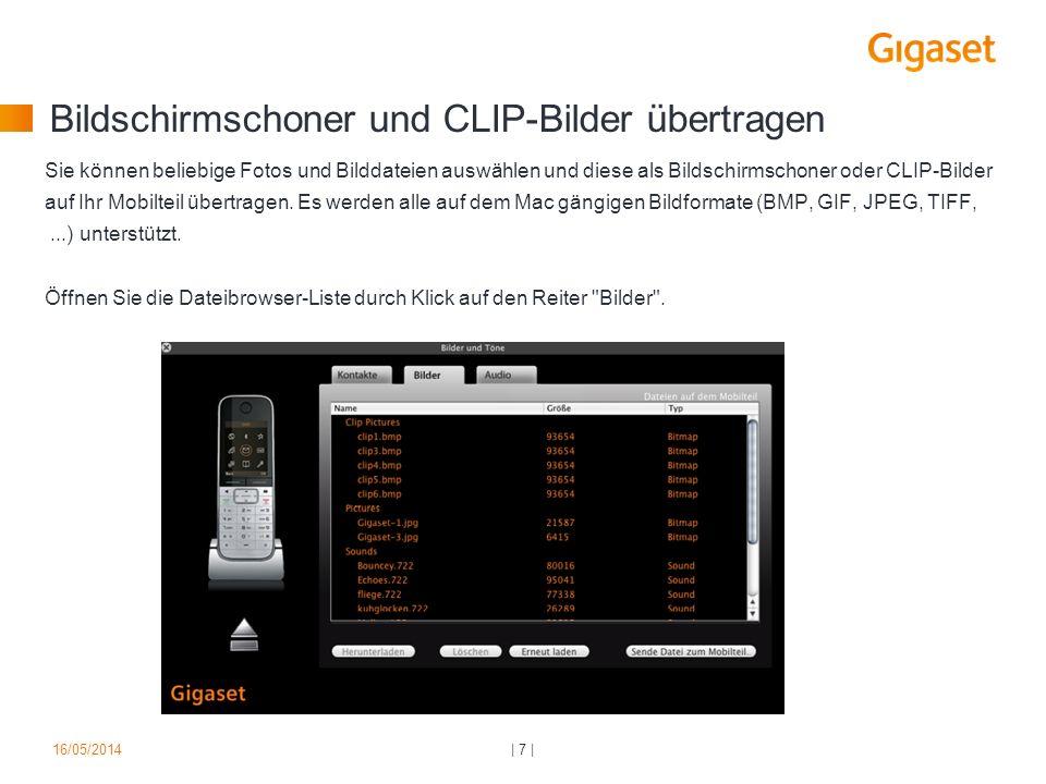 Bildschirmschoner und CLIP-Bilder übertragen Sie können beliebige Fotos und Bilddateien auswählen und diese als Bildschirmschoner oder CLIP-Bilder auf Ihr Mobilteil übertragen.