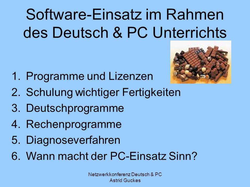 Netzwerkkonferenz Deutsch & PC Astrid Guckes Software-Einsatz im Rahmen des Deutsch & PC Unterrichts 1.Programme und Lizenzen 2.Schulung wichtiger Fer