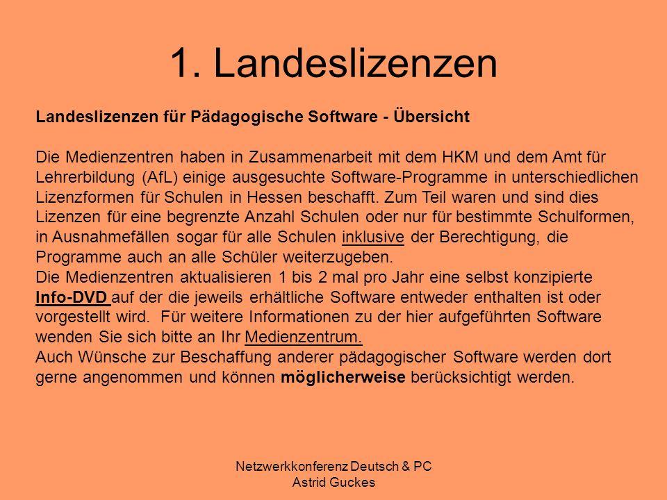 Netzwerkkonferenz Deutsch & PC Astrid Guckes 1. Landeslizenzen Landeslizenzen für Pädagogische Software - Übersicht Die Medienzentren haben in Zusamme