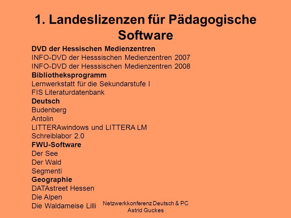 Netzwerkkonferenz Deutsch & PC Astrid Guckes 1. Landeslizenzen für Pädagogische Software DVD der Hessischen Medienzentren INFO-DVD der Hesssischen Med
