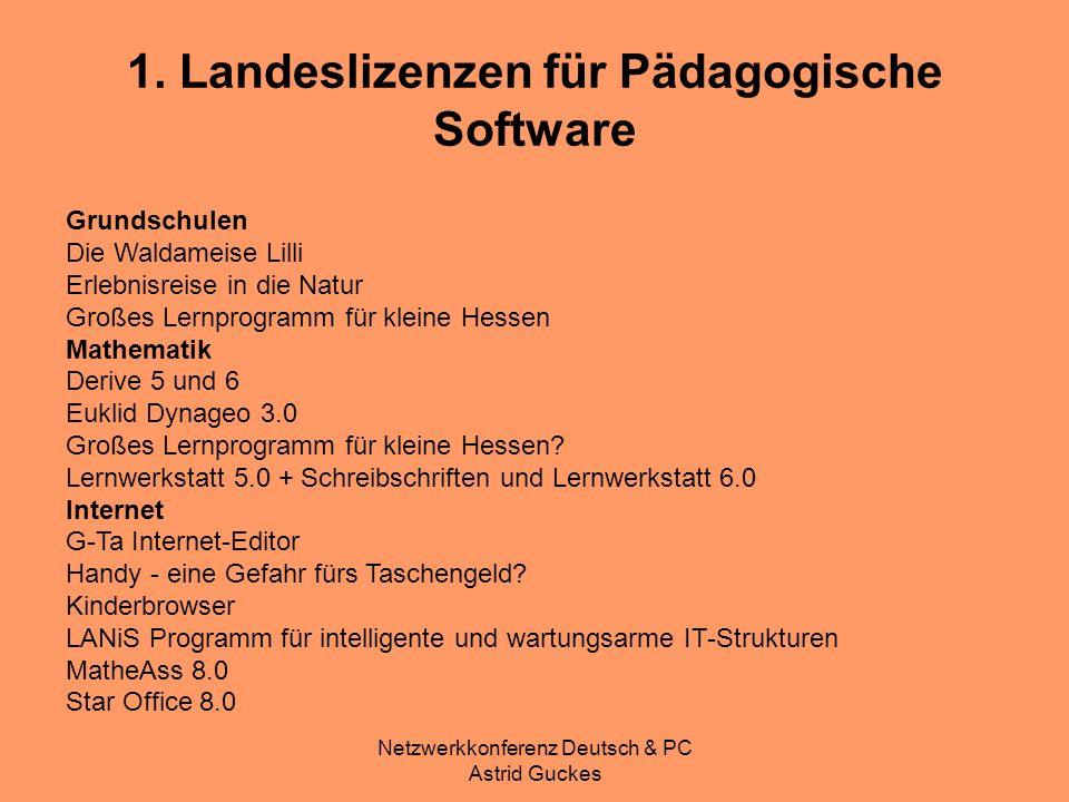 Netzwerkkonferenz Deutsch & PC Astrid Guckes 1. Landeslizenzen für Pädagogische Software Grundschulen Die Waldameise Lilli Erlebnisreise in die Natur