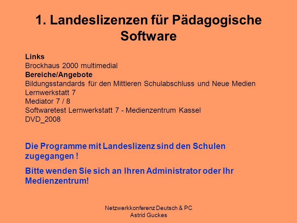 Netzwerkkonferenz Deutsch & PC Astrid Guckes Links Brockhaus 2000 multimedial Bereiche/Angebote Bildungsstandards für den Mittleren Schulabschluss und
