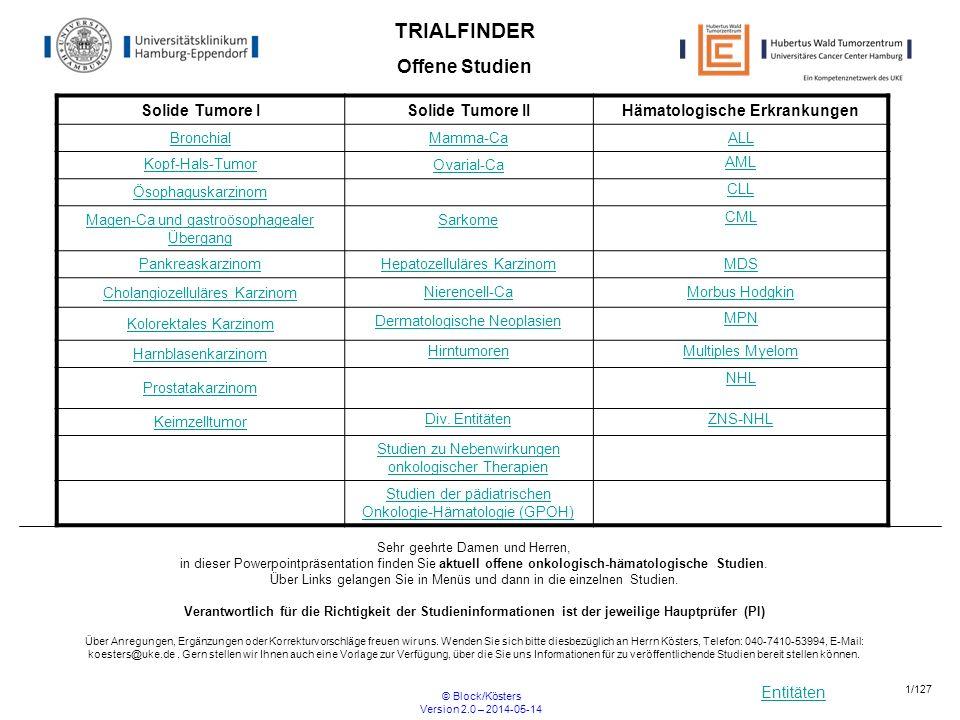 Entitäten © Block/Kösters Version 2.0 – 2014-05-14 42/127 HD 18 Therapieoptimierungsstudie in der Primärtherapie des fortgeschrittenen Hodgkin Lymphoms: Therapiestratifizierung mittels FDG-PET R Beginn01.12.2007Ende offen Ansprechpartner UKE: PIProf.