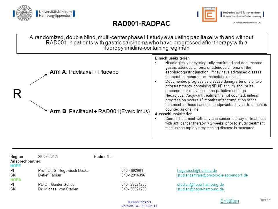 Entitäten © Block/Kösters Version 2.0 – 2014-05-14 10/127 RAD001-RADPAC A randomized, double blind, multi-center phase III study evaluating paclitaxel