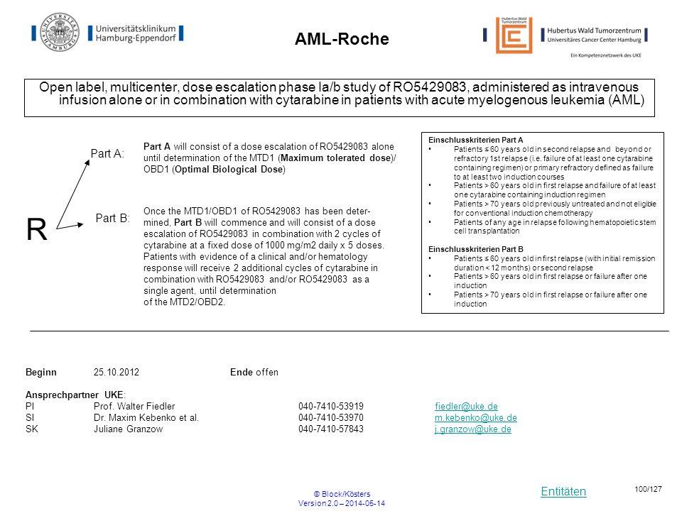 Entitäten © Block/Kösters Version 2.0 – 2014-05-14 100/127 AML-Roche Open label, multicenter, dose escalation phase Ia/b study of RO5429083, administe