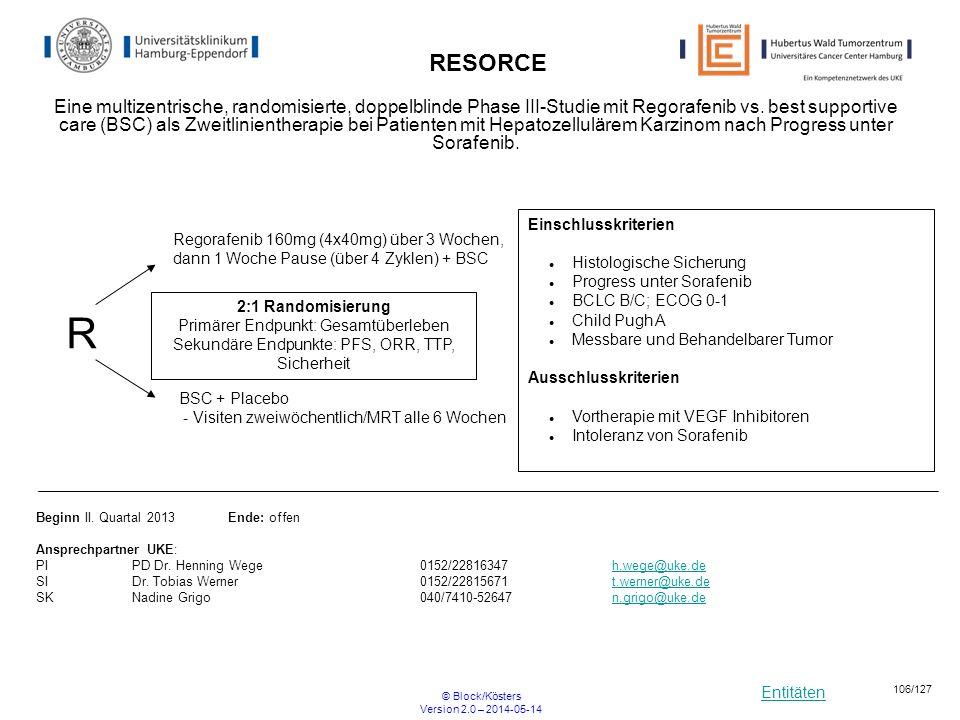 Entitäten © Block/Kösters Version 2.0 – 2014-05-14 106/127 RESORCE Eine multizentrische, randomisierte, doppelblinde Phase III-Studie mit Regorafenib