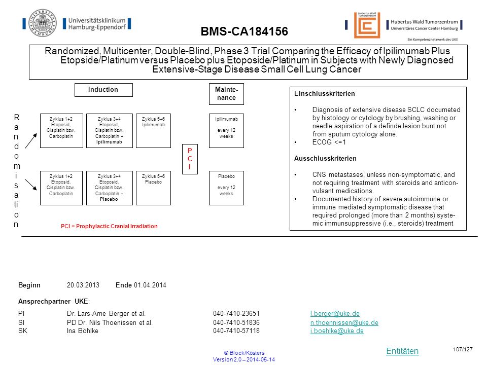 Entitäten © Block/Kösters Version 2.0 – 2014-05-14 107/127 BMS-CA184156 Randomized, Multicenter, Double-Blind, Phase 3 Trial Comparing the Efficacy of