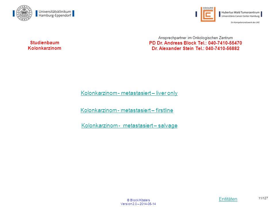 Entitäten © Block/Kösters Version 2.0 – 2014-05-14 11/127 Studienbaum Kolonkarzinom Kolonkarzinom - metastasiert – liver only Kolonkarzinom - metastas