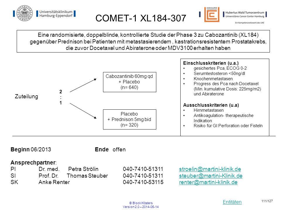 Entitäten © Block/Kösters Version 2.0 – 2014-05-14 111/127 Einschlusskriterien (u.a.) gesichertes Pca, ECOG 0-2 Serumtestosteron <50ng/dl Knochenmetas