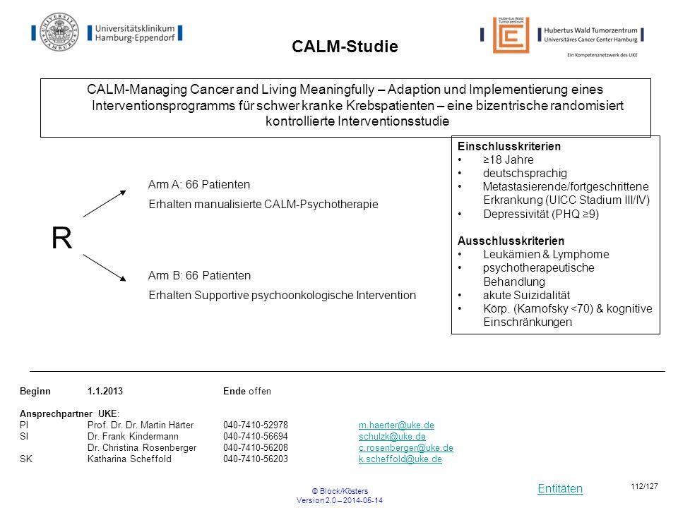 Entitäten © Block/Kösters Version 2.0 – 2014-05-14 112/127 CALM-Studie CALM-Managing Cancer and Living Meaningfully – Adaption und Implementierung ein