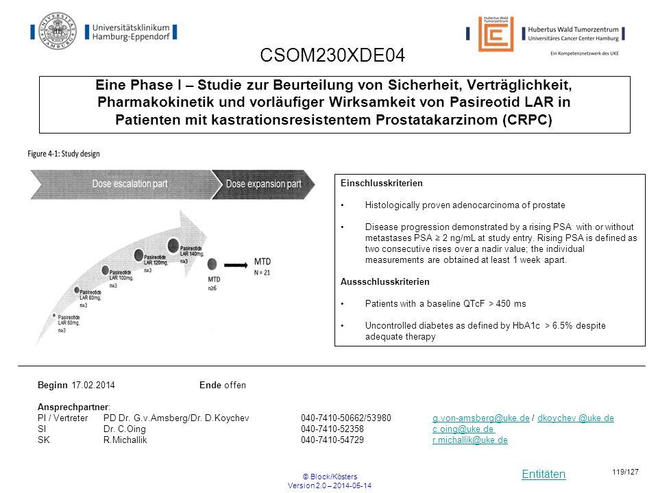 Entitäten © Block/Kösters Version 2.0 – 2014-05-14 119/127 CSOM230XDE04 Eine Phase I – Studie zur Beurteilung von Sicherheit, Verträglichkeit, Pharmak