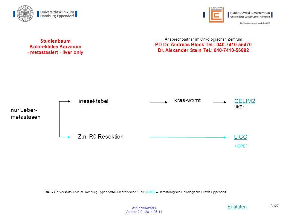 Entitäten © Block/Kösters Version 2.0 – 2014-05-14 12/127 Studienbaum Kolorektales Karzinom - metastasiert - liver only nur Leber- metastasen Z.n. R0