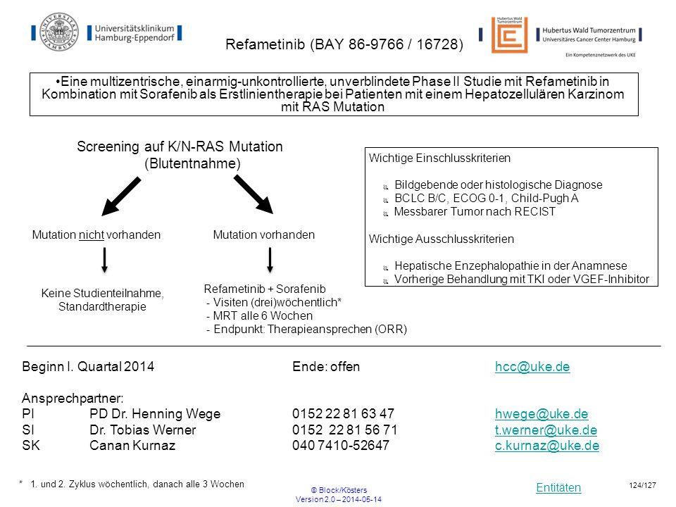 Entitäten © Block/Kösters Version 2.0 – 2014-05-14 124/127 Refametinib (BAY 86-9766 / 16728) Eine multizentrische, einarmig-unkontrollierte, unverblin