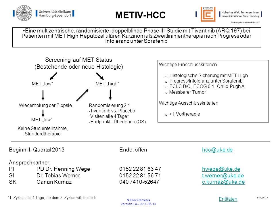 Entitäten © Block/Kösters Version 2.0 – 2014-05-14 125/127 METIV-HCC Eine multizentrische, randomisierte, doppelblinde Phase III-Studie mit Tivantinib