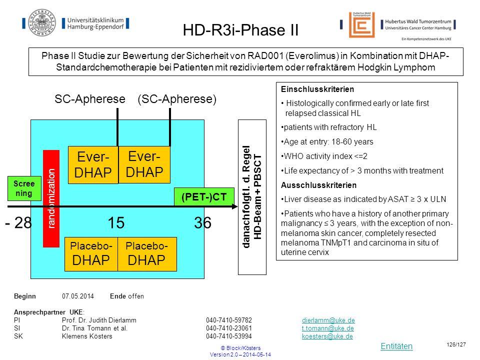 Entitäten © Block/Kösters Version 2.0 – 2014-05-14 126/127 SC-Apherese(SC-Apherese) Scree ning Placebo- DHAP Placebo- DHAP randomization Ever- DHAP (P