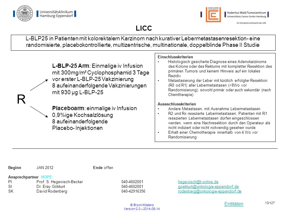 Entitäten © Block/Kösters Version 2.0 – 2014-05-14 13/127 LICC L-BLP25 in Patienten mit kolorektalem Karzinom nach kurativer Lebermetastasenresektion-