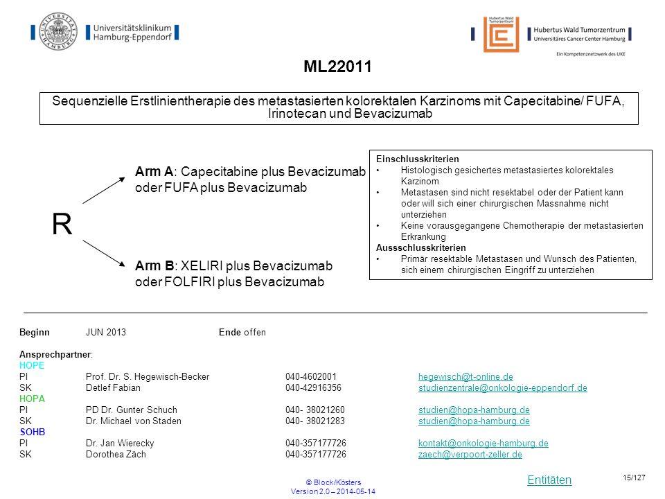 Entitäten © Block/Kösters Version 2.0 – 2014-05-14 15/127 ML22011 Sequenzielle Erstlinientherapie des metastasierten kolorektalen Karzinoms mit Capeci