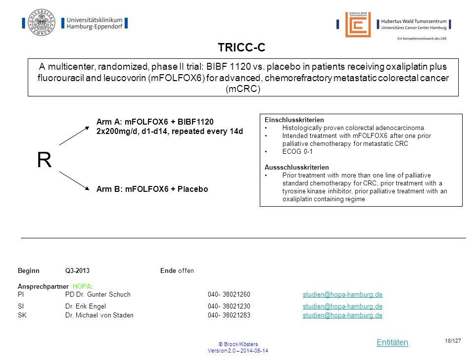 Entitäten © Block/Kösters Version 2.0 – 2014-05-14 18/127 TRICC-C A multicenter, randomized, phase II trial: BIBF 1120 vs. placebo in patients receivi