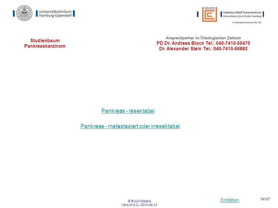 Entitäten © Block/Kösters Version 2.0 – 2014-05-14 19/127 Studienbaum Pankreaskarzinom Pankreas - resektabel Pankreas - metastasiert oder irresektabel