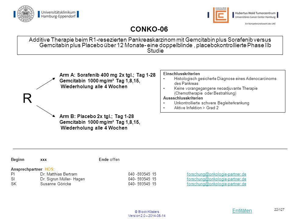 Entitäten © Block/Kösters Version 2.0 – 2014-05-14 22/127 CONKO-06 Additive Therapie beim R1-resezierten Pankreaskarzinom mit Gemcitabin plus Sorafeni