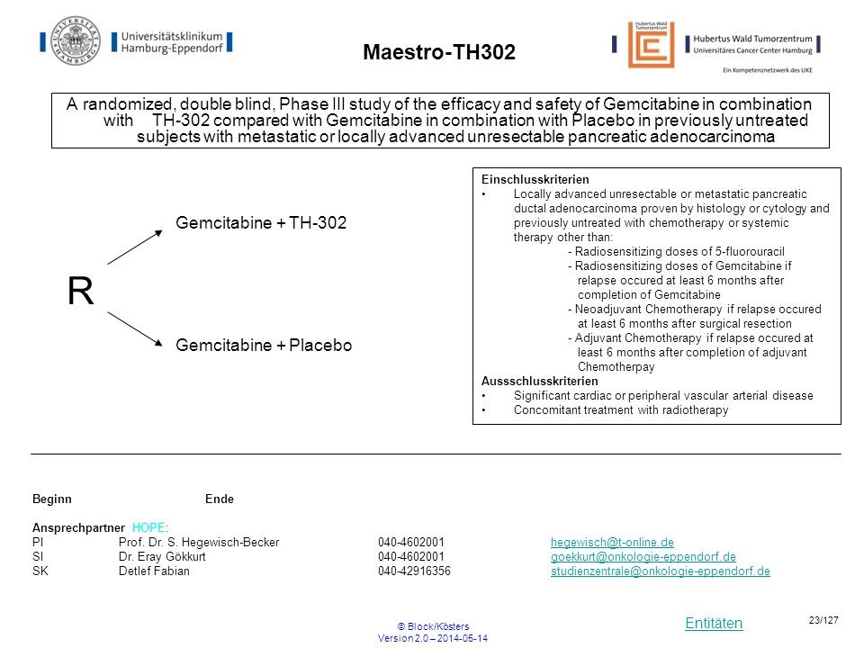 Entitäten © Block/Kösters Version 2.0 – 2014-05-14 23/127 Maestro-TH302 A randomized, double blind, Phase III study of the efficacy and safety of Gemc