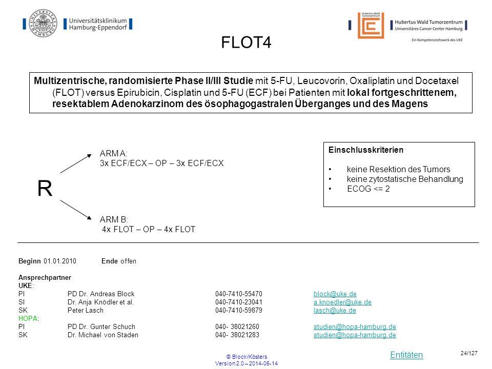 Entitäten © Block/Kösters Version 2.0 – 2014-05-14 24/127 FLOT4 Multizentrische, randomisierte Phase II/III Studie mit 5-FU, Leucovorin, Oxaliplatin u