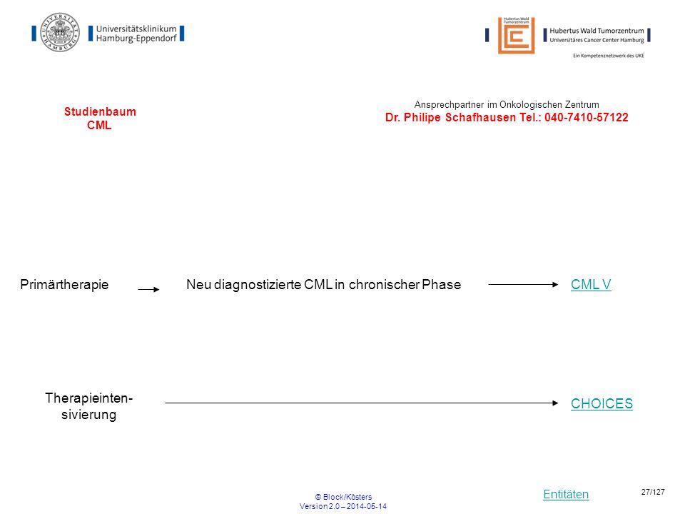 Entitäten © Block/Kösters Version 2.0 – 2014-05-14 27/127 Studienbaum CML PrimärtherapieNeu diagnostizierte CML in chronischer Phase Therapieinten- si