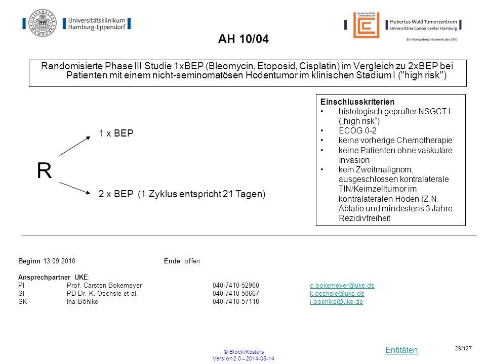 Entitäten © Block/Kösters Version 2.0 – 2014-05-14 29/127 AH 10/04 Randomisierte Phase III Studie 1xBEP (Bleomycin, Etoposid, Cisplatin) im Vergleich