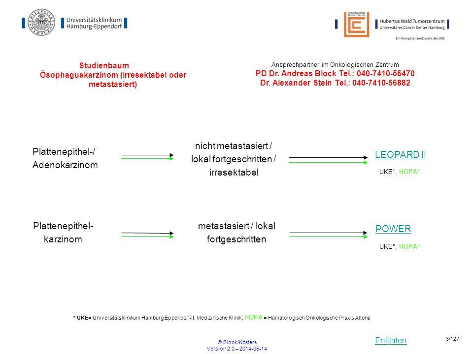 Entitäten © Block/Kösters Version 2.0 – 2014-05-14 24/127 FLOT4 Multizentrische, randomisierte Phase II/III Studie mit 5-FU, Leucovorin, Oxaliplatin und Docetaxel (FLOT) versus Epirubicin, Cisplatin und 5-FU (ECF) bei Patienten mit lokal fortgeschrittenem, resektablem Adenokarzinom des ösophagogastralen Überganges und des Magens R ARM B: 4x FLOT – OP – 4x FLOT ARM A: 3x ECF/ECX – OP – 3x ECF/ECX Einschlusskriterien keine Resektion des Tumors keine zytostatische Behandlung ECOG <= 2 Beginn 01.01.2010 Ende offen Ansprechpartner UKE: PIPD Dr.