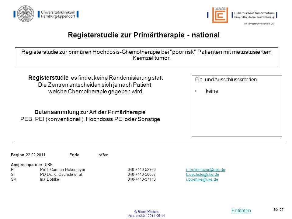 Entitäten © Block/Kösters Version 2.0 – 2014-05-14 30/127 Registerstudie zur primären Hochdosis-Chemotherapie bei