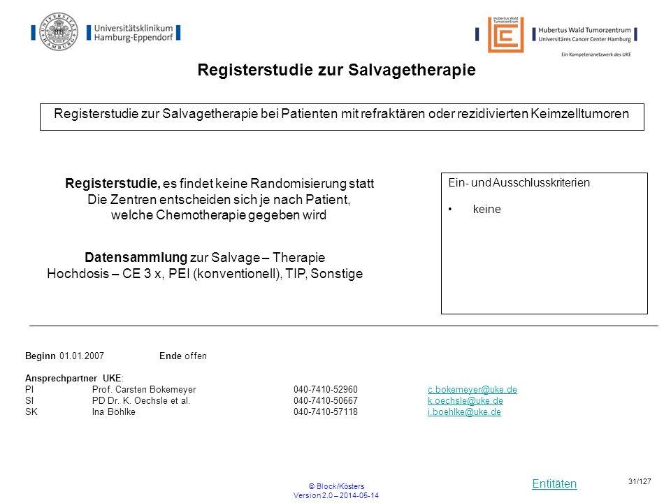 Entitäten © Block/Kösters Version 2.0 – 2014-05-14 31/127 Registerstudie zur Salvagetherapie Registerstudie zur Salvagetherapie bei Patienten mit refr