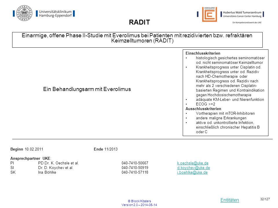 Entitäten © Block/Kösters Version 2.0 – 2014-05-14 32/127 RADIT Einarmige, offene Phase II-Studie mit Everolimus bei Patienten mit rezidivierten bzw.