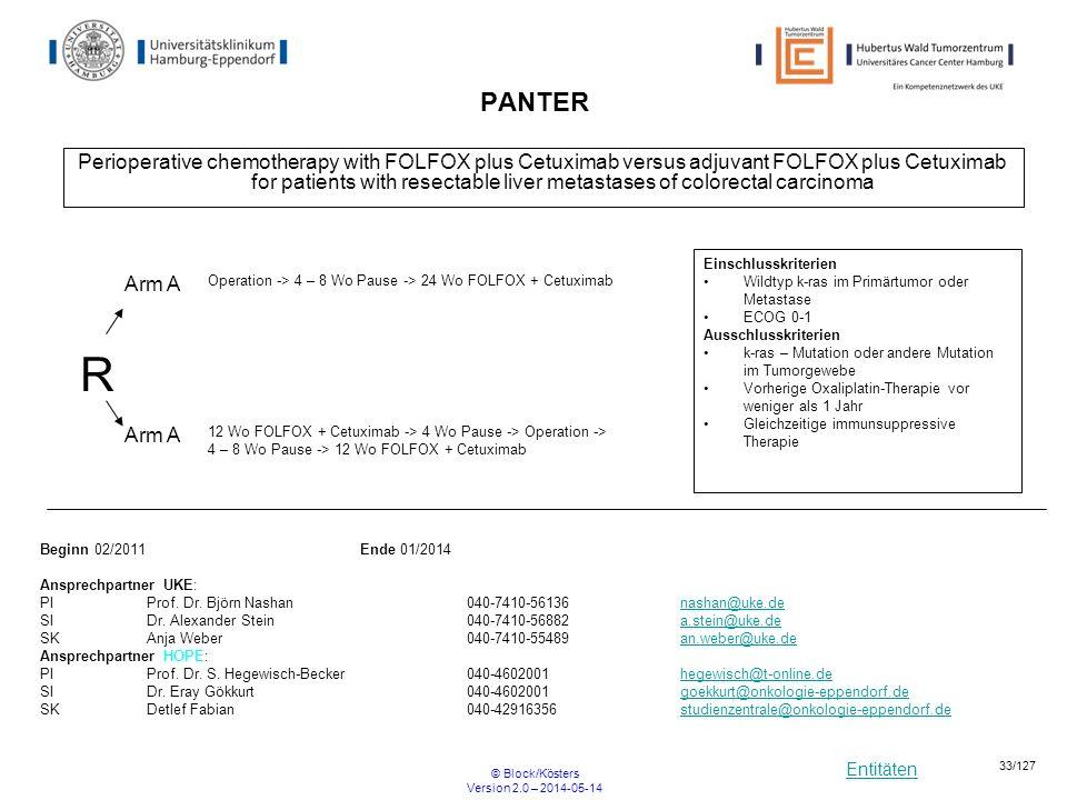 Entitäten © Block/Kösters Version 2.0 – 2014-05-14 33/127 PANTER Perioperative chemotherapy with FOLFOX plus Cetuximab versus adjuvant FOLFOX plus Cet