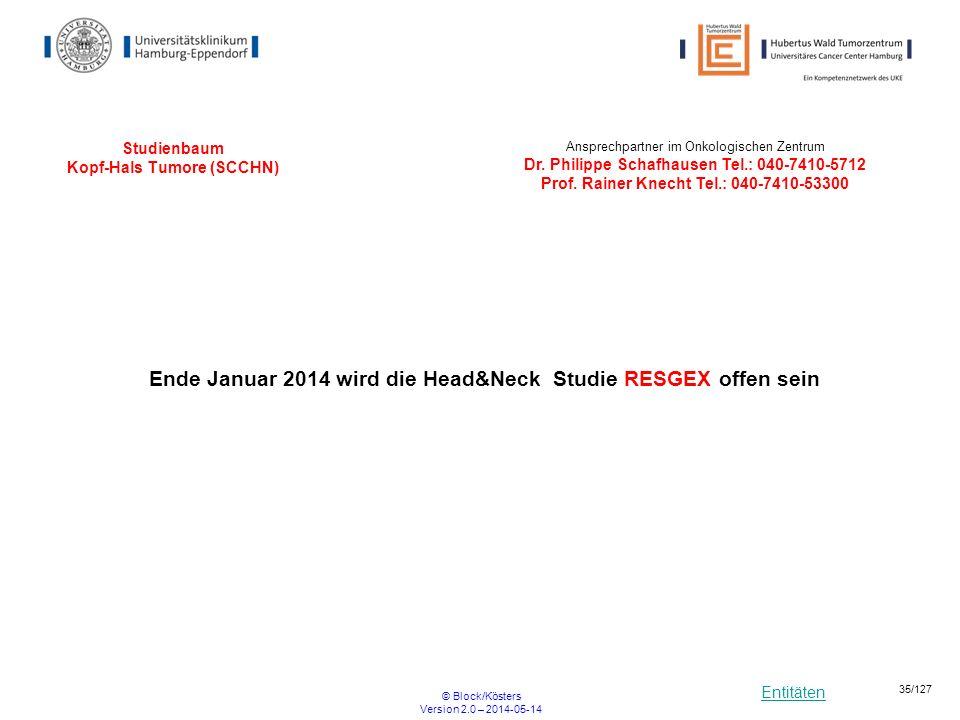 Entitäten © Block/Kösters Version 2.0 – 2014-05-14 35/127 Studienbaum Kopf-Hals Tumore (SCCHN) Ansprechpartner im Onkologischen Zentrum Dr. Philippe S
