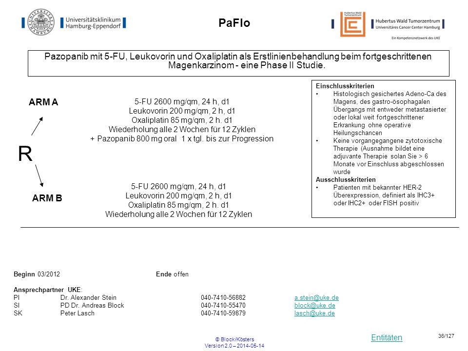 Entitäten © Block/Kösters Version 2.0 – 2014-05-14 36/127 PaFlo Pazopanib mit 5-FU, Leukovorin und Oxaliplatin als Erstlinienbehandlung beim fortgesch