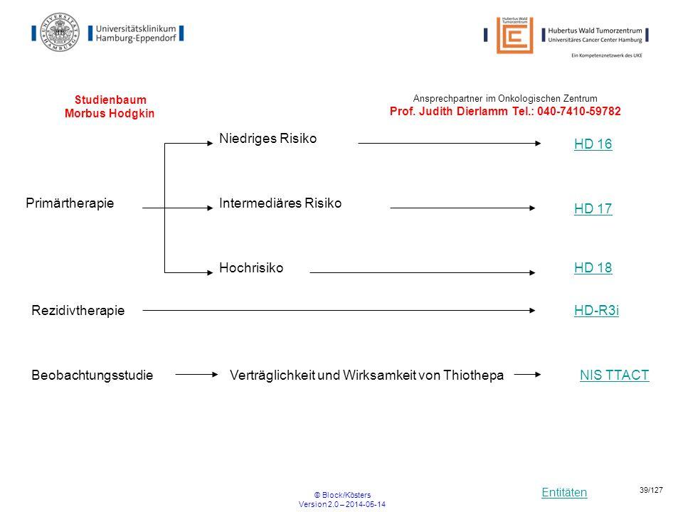Entitäten © Block/Kösters Version 2.0 – 2014-05-14 39/127 Studienbaum Morbus Hodgkin HD 16 Niedriges Risiko HD 17 Intermediäres Risiko HD 18Hochrisiko