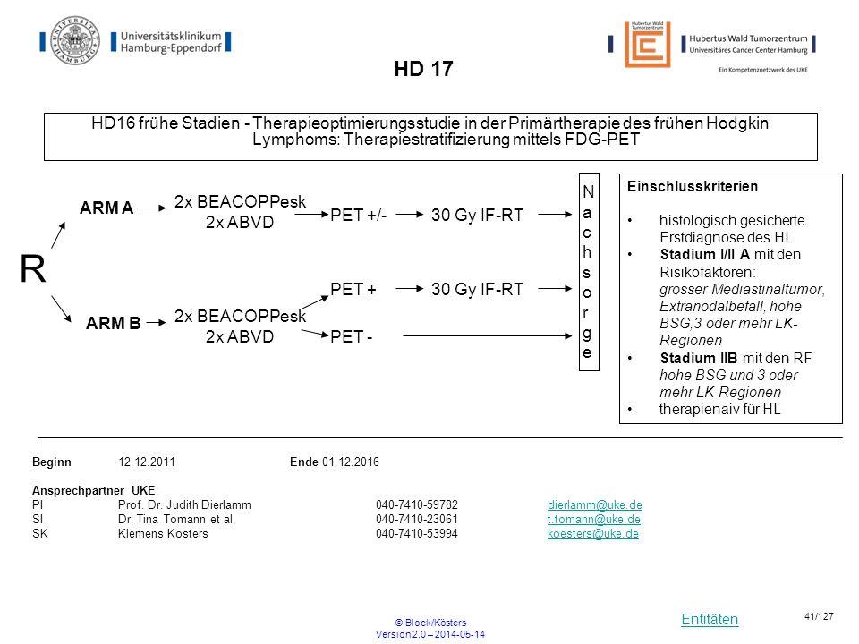 Entitäten © Block/Kösters Version 2.0 – 2014-05-14 41/127 HD 17 HD16 frühe Stadien - Therapieoptimierungsstudie in der Primärtherapie des frühen Hodgk