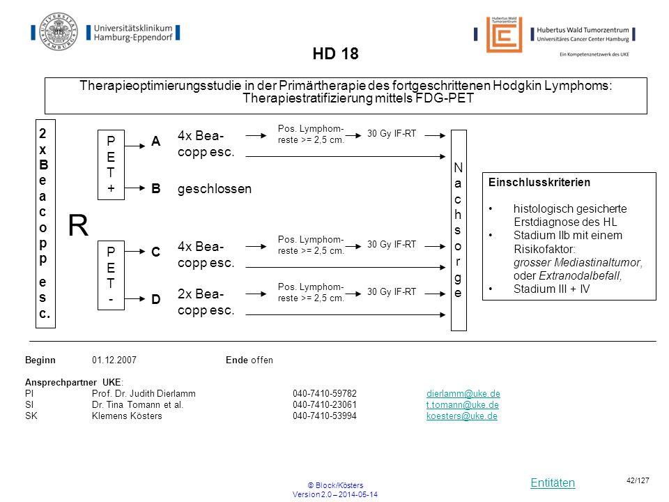 Entitäten © Block/Kösters Version 2.0 – 2014-05-14 42/127 HD 18 Therapieoptimierungsstudie in der Primärtherapie des fortgeschrittenen Hodgkin Lymphom