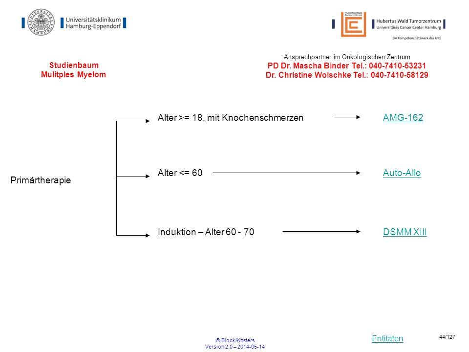 Entitäten © Block/Kösters Version 2.0 – 2014-05-14 44/127 Studienbaum Mulitples Myelom DSMM XIII Primärtherapie Induktion – Alter 60 - 70 Auto-Allo Al