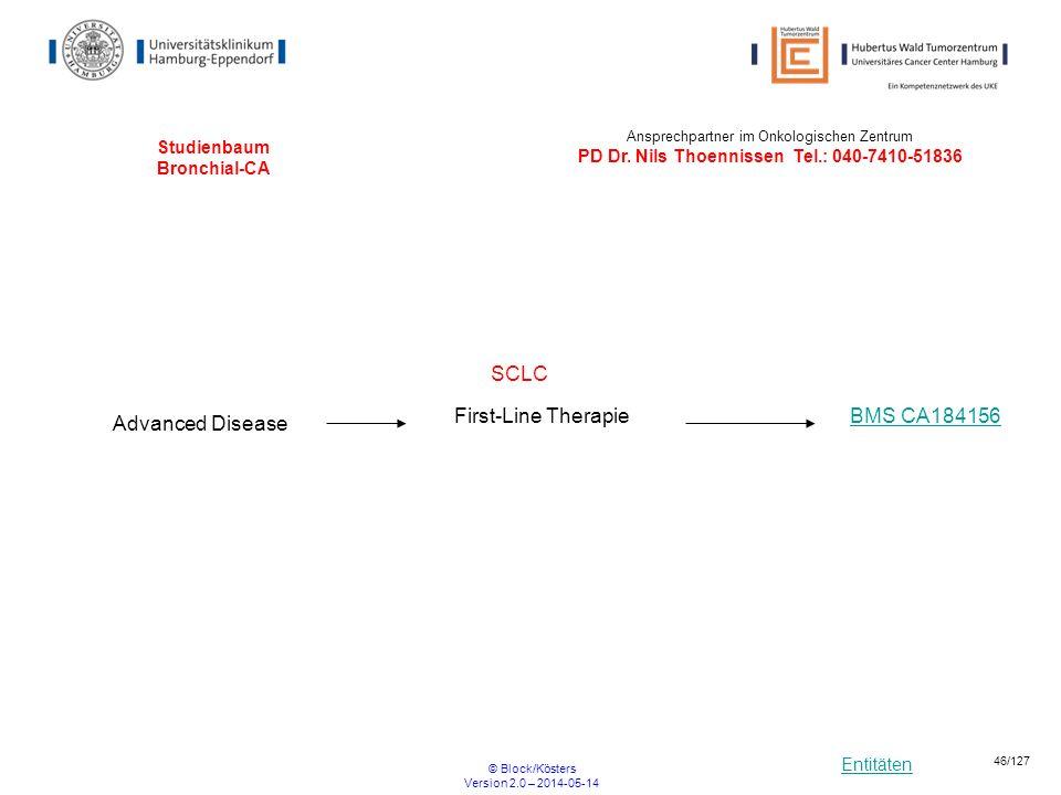 Entitäten © Block/Kösters Version 2.0 – 2014-05-14 46/127 Studienbaum Bronchial-CA SCLC Advanced Disease BMS CA184156First-Line Therapie Ansprechpartn