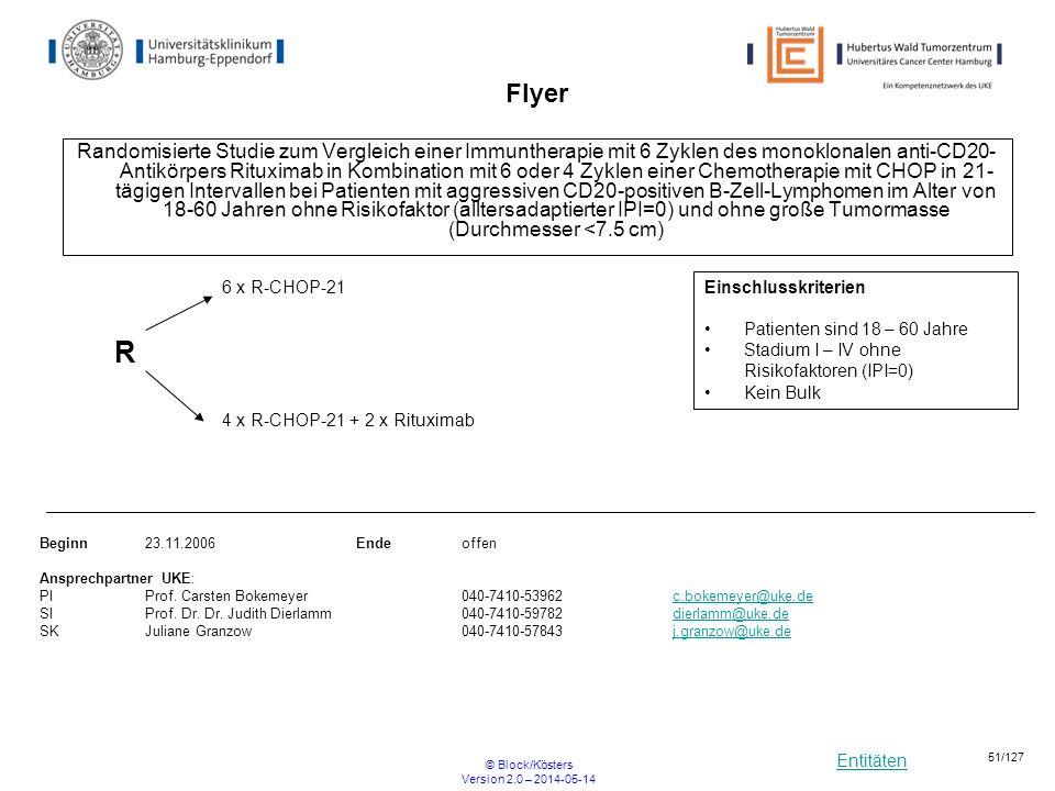 Entitäten © Block/Kösters Version 2.0 – 2014-05-14 51/127 Flyer Randomisierte Studie zum Vergleich einer Immuntherapie mit 6 Zyklen des monoklonalen a