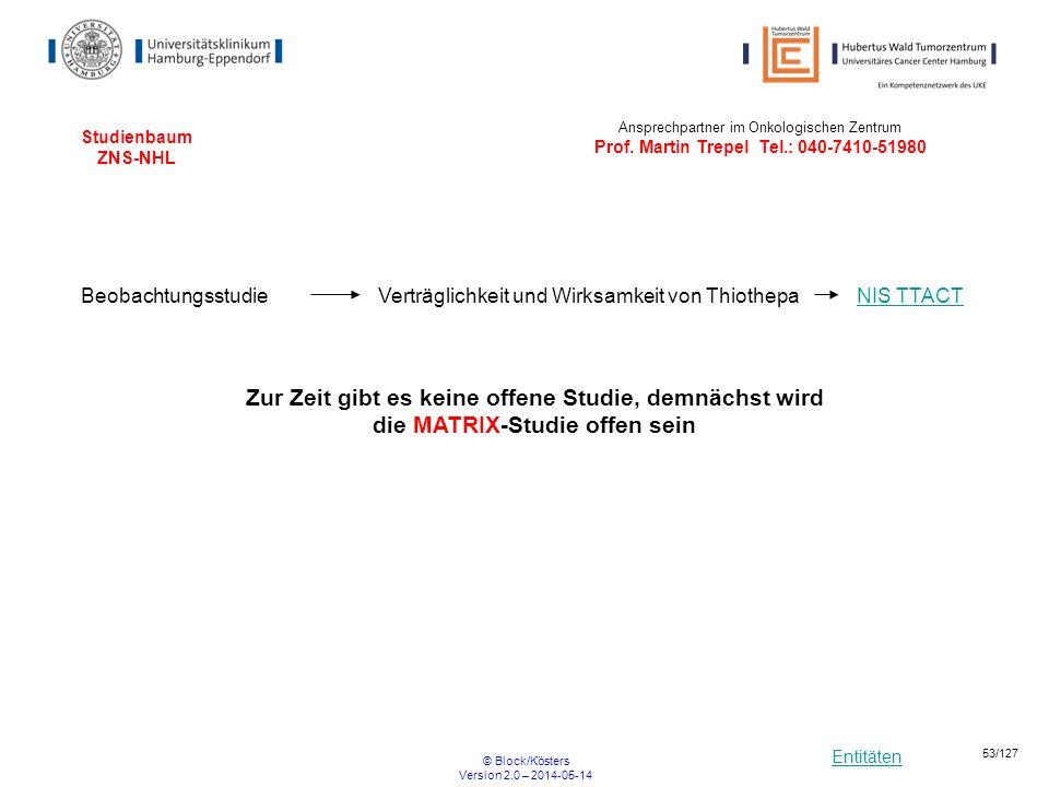 Entitäten © Block/Kösters Version 2.0 – 2014-05-14 53/127 Studienbaum ZNS-NHL Ansprechpartner im Onkologischen Zentrum Prof. Martin Trepel Tel.: 040-7