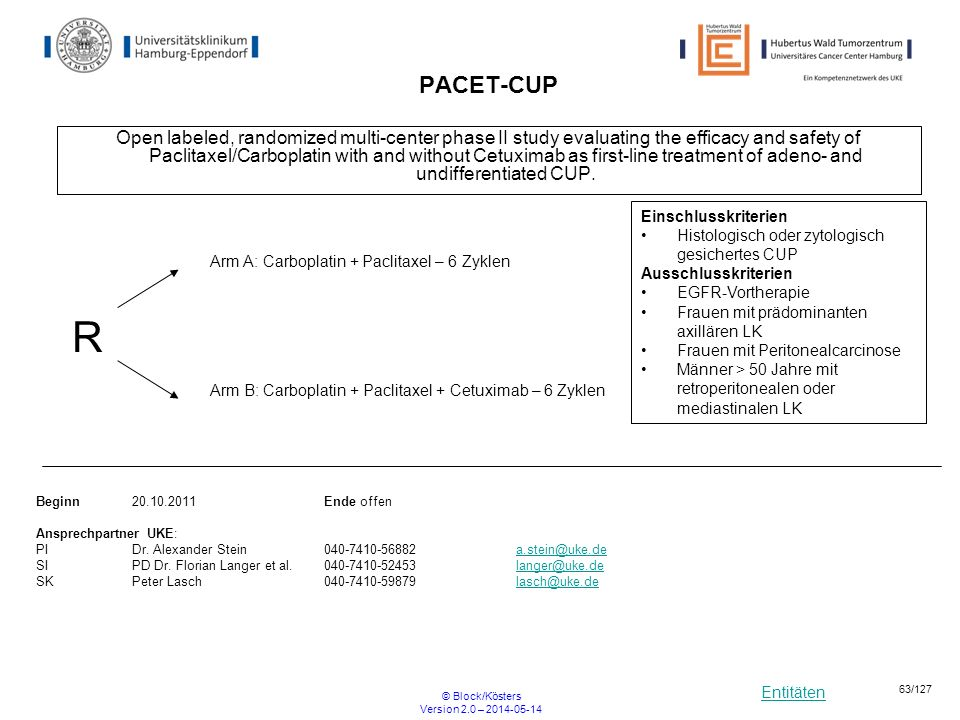Entitäten © Block/Kösters Version 2.0 – 2014-05-14 63/127 PACET-CUP Open labeled, randomized multi-center phase II study evaluating the efficacy and s