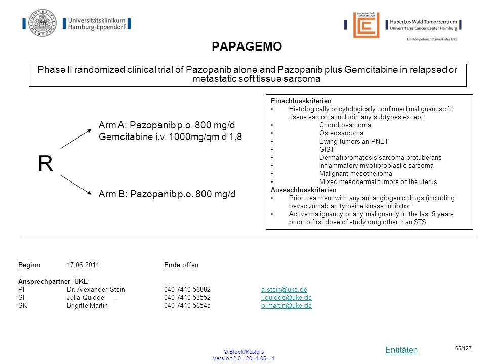 Entitäten © Block/Kösters Version 2.0 – 2014-05-14 65/127 PAPAGEMO Phase II randomized clinical trial of Pazopanib alone and Pazopanib plus Gemcitabin