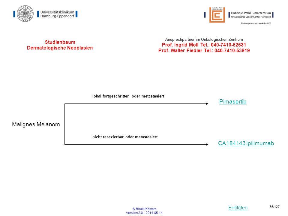 Entitäten © Block/Kösters Version 2.0 – 2014-05-14 66/127 Studienbaum Dermatologische Neoplasien Malignes Melanom Pimasertib Ansprechpartner im Onkolo