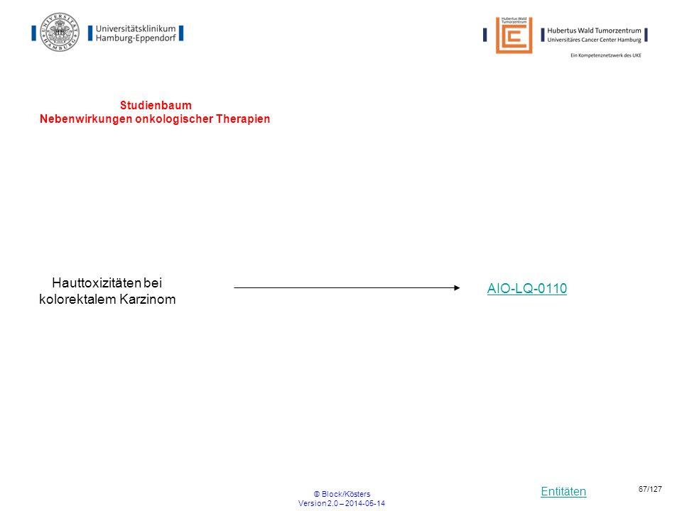 Entitäten © Block/Kösters Version 2.0 – 2014-05-14 67/127 Studienbaum Nebenwirkungen onkologischer Therapien Hauttoxizitäten bei kolorektalem Karzinom