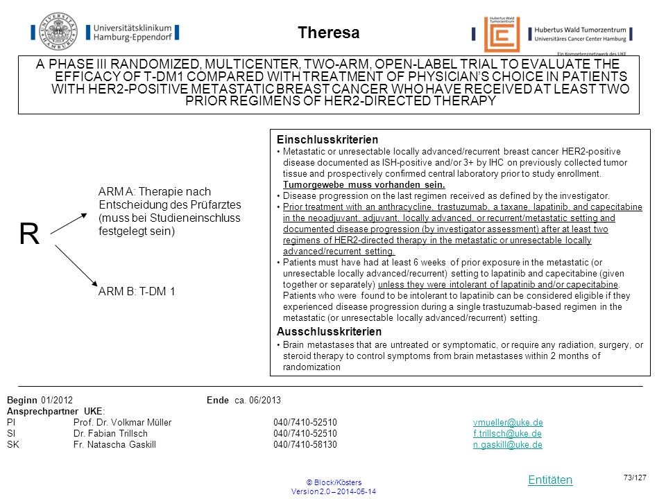 Entitäten © Block/Kösters Version 2.0 – 2014-05-14 73/127 Theresa A PHASE III RANDOMIZED, MULTICENTER, TWO-ARM, OPEN-LABEL TRIAL TO EVALUATE THE EFFIC