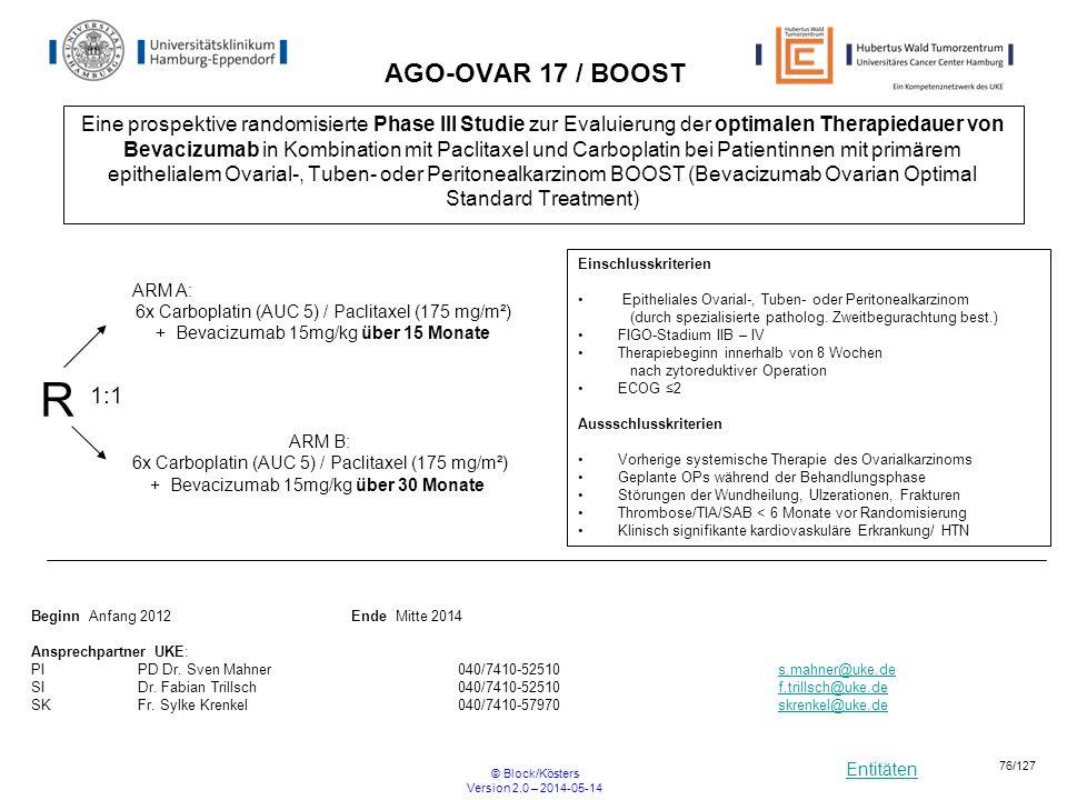 Entitäten © Block/Kösters Version 2.0 – 2014-05-14 76/127 AGO-OVAR 17 / BOOST Eine prospektive randomisierte Phase III Studie zur Evaluierung der opti