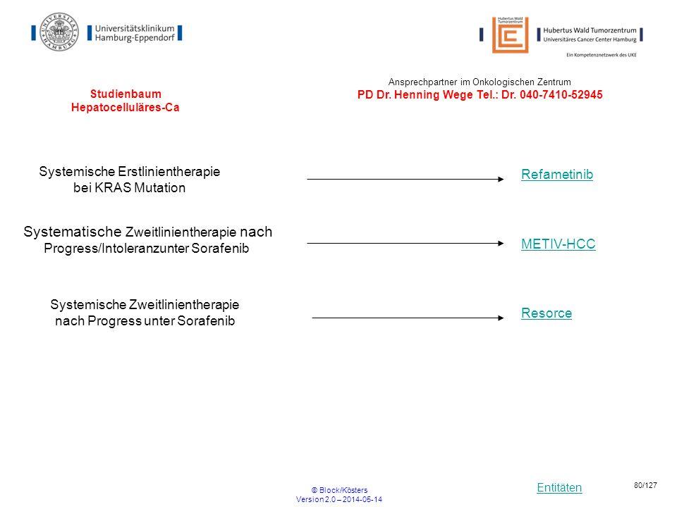 Entitäten © Block/Kösters Version 2.0 – 2014-05-14 80/127 Studienbaum Hepatocelluläres-Ca Refametinib METIV-HCC Systemische Erstlinientherapie bei KRA